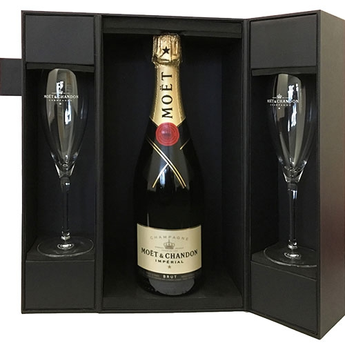 Moët & Chandon Brut Impérial in luxe geschenkdoos met glazen 75CL