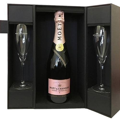 Moët & Chandon Brut Rosé 75CL in luxe geschenkdoos met glazen
