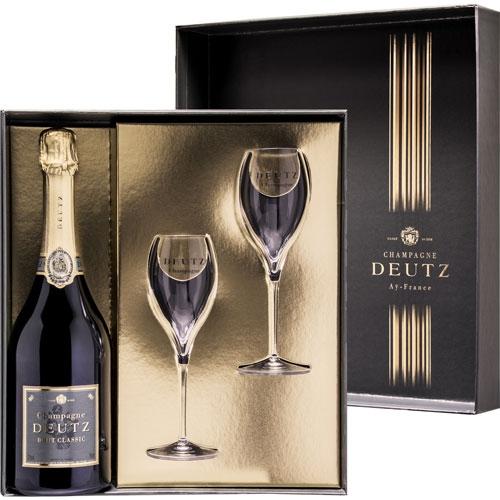 Deutz Brut Classic in giftbox met glazen 75CL