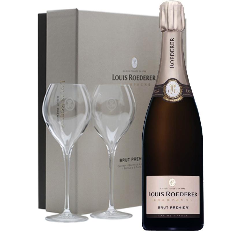 Louis Roederer Brut Premier in geschenkverpakking met twee glazen